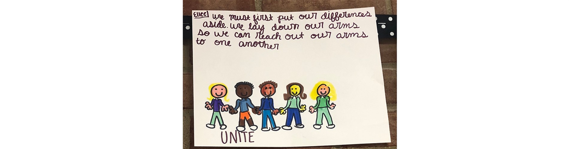 "Unite Drawing and Quote ""We must first put our differences aside. We lay down our arms so we can reach out our arms to one another."""